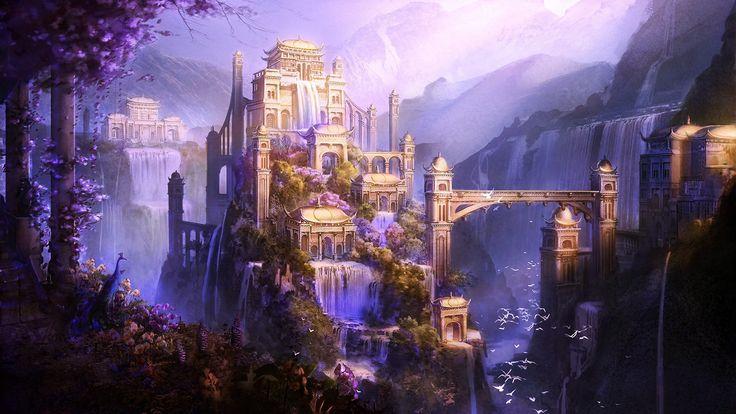 Shangri-La, d'art d'imaginaire, château, ville, montagne, art, chute d'eau, oiseaux blancs, voler