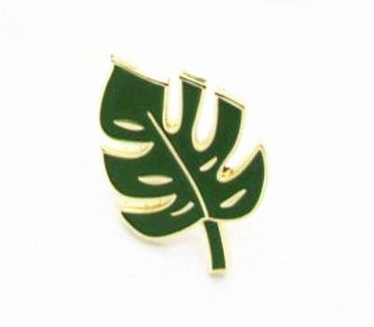 hipster cute enamel cheese plant monstera leaf mini lapel pin badge free UK post