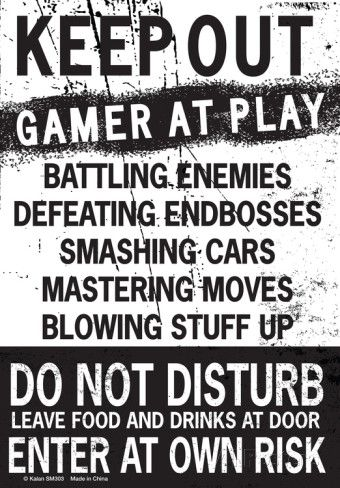 Keep Out Gamer At Play… Tin Sign - AllPosters.co.uk
