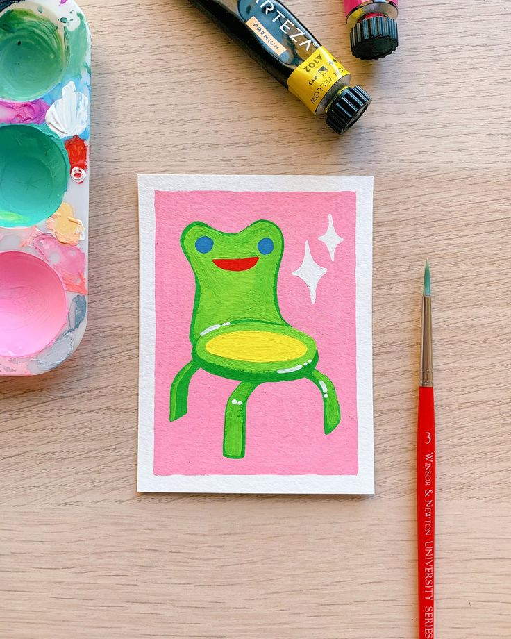 Froggy Chair Animal Crossing New Horizons Original Gouache