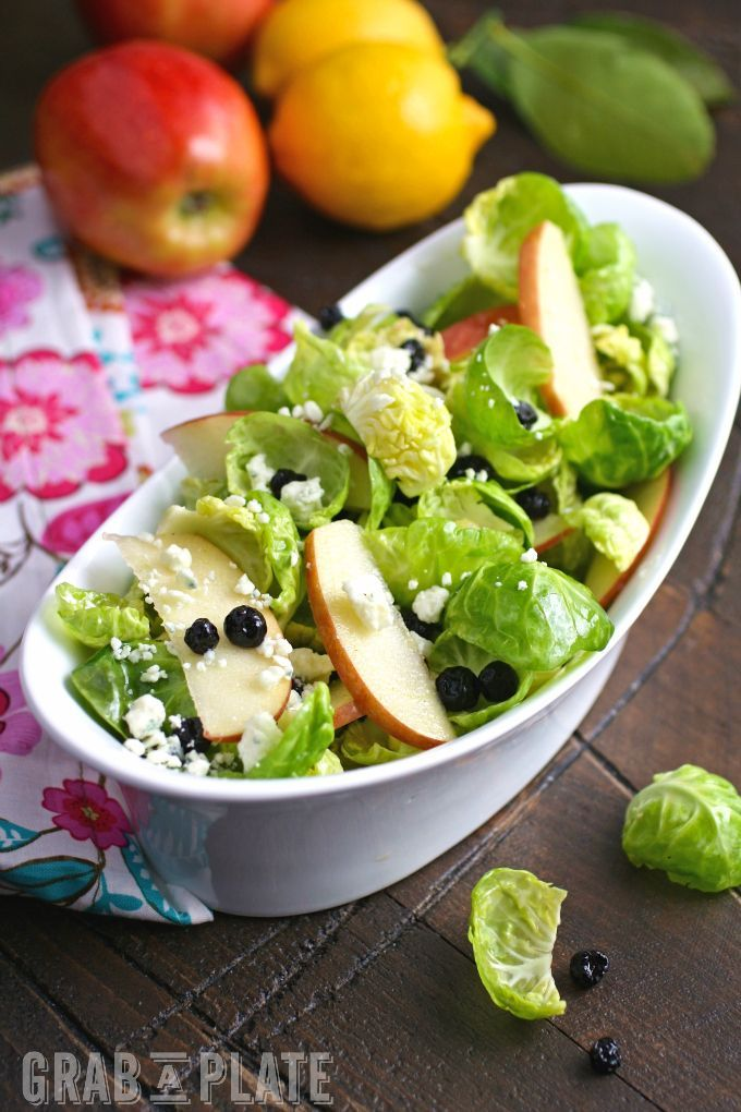 Dig into a wintery salad with bright flavor! You'll love Brussels Sprouts Salad with Apples, Blueberries & Lemon Vinaigrette!