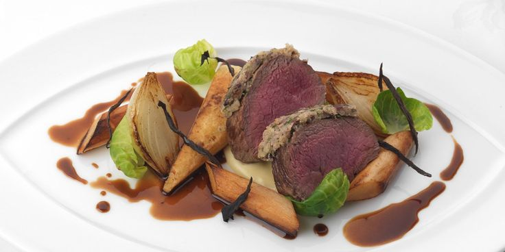 This venison recipe from Phil Carnegie of Inverlochy Castle fame combines the woody flavours of parsnip with tender rich venison crusted in black olives