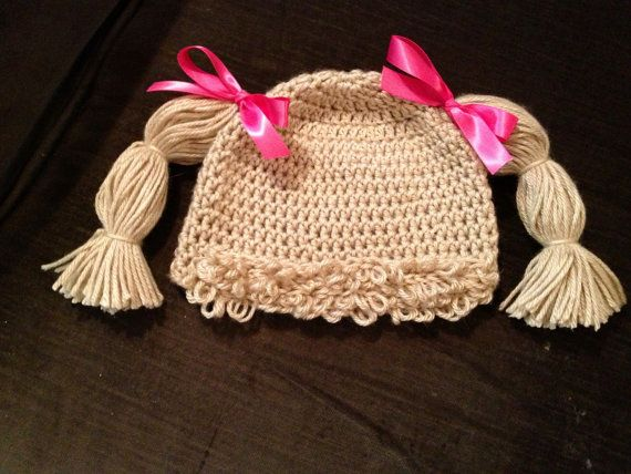 Cabbage Patch Knit Hat With Fringe And Pigtails Pattern : Baby girl adorable Cabbage Patch hat complete with hair/wig and thick pigtail...