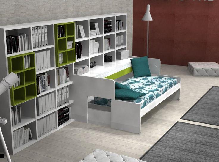 Letto che si trasforma in scrittoio, in divano, in secondo letto.