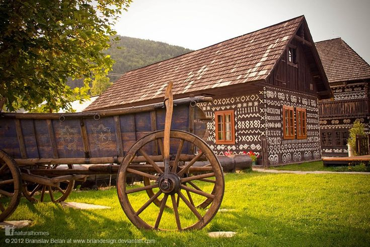 The ornamental decorations on these Slovakian log homes are painted with lime. The tradition, dating back 200 years, is inspired by the local embroidery. The Čičmany villagers [www.obeccicmany.sk], who recently celebrated their 740th anniversary, have a strong folk heritage with traditional costumes, dance and music.