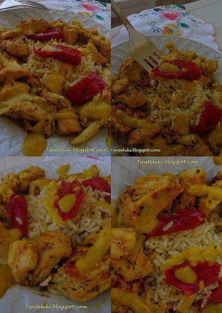 Tante Kiki: Κοτομπουκιές με σάλτσα κάρυ και ρύζι μπασμάτι κι έ...