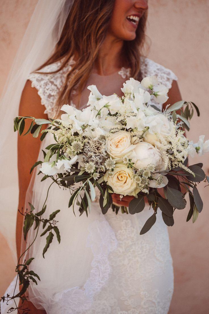Monique Lhuillier wedding gown; VENUE Hotel Villa Belrose, St. Tropez France, PHOTOGRAPHY Joel + Justyna Bedford, destination wedding photographers; organic white + green wedding bouquet