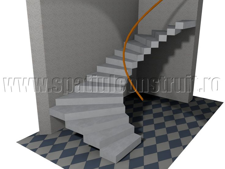 Staircases: general concepts & classifications/ Scari: notiuni generale, clasificari >> Quarter turn staircase/ Scara cu trepte balansate