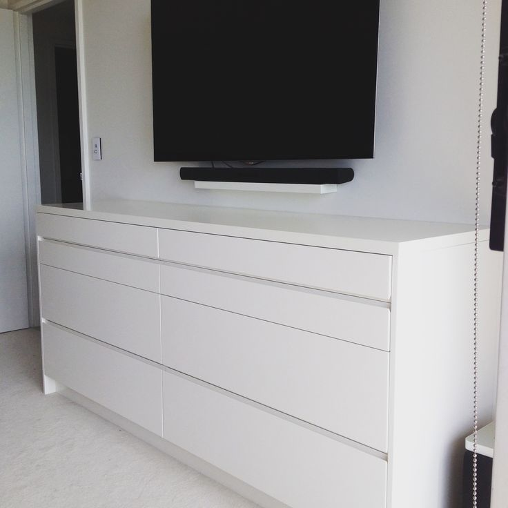 Dresser on White Poly finish and soft close drawers with finger pull handle
