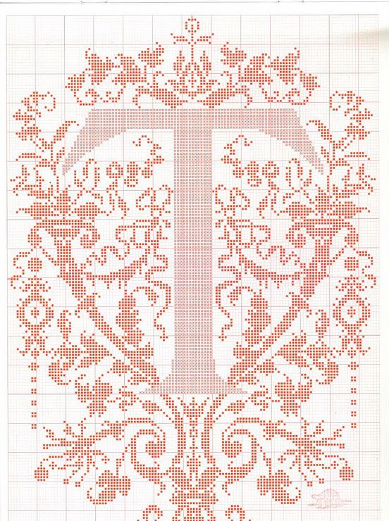 "cross stitch alphabet in 2 colors- very ornate monogram 26 single letters -- ""T'"" #20"