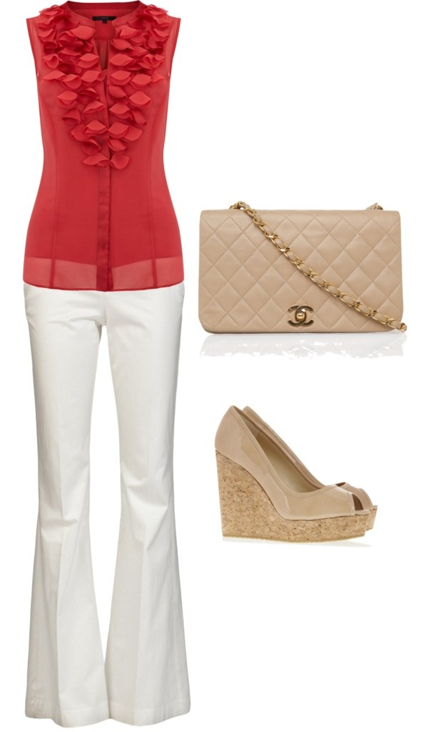 """""""light and cool summer outfit"""" by katie-d-tate on Polyvore...could switch shirt to black and white and purse/shoes to black."""