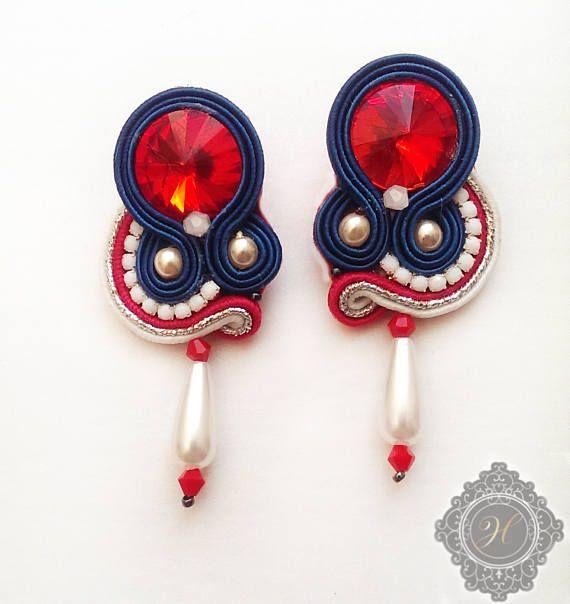 Blue red white mini  soutache handmade earrings