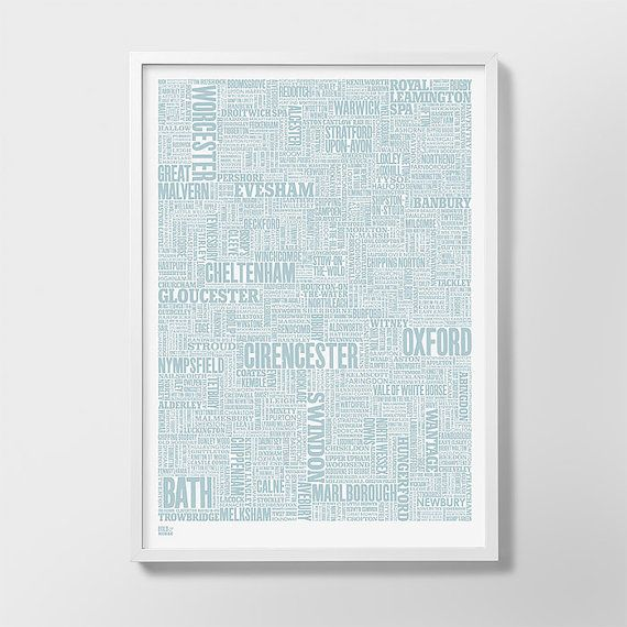 Cotswolds and Beyond Type Map Screen Print, Cotswolds Word Map, Cotswolds Font Map, Cotswolds Artwork, Cotswolds Wall Poster, Typography Art
