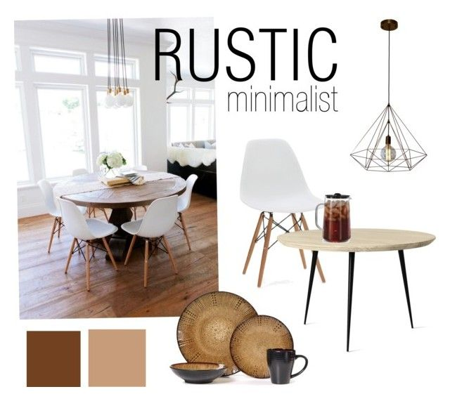 Rustic minimalist dining room interior by andini-rachma on Polyvore featuring polyvore, interior, interiors, interior design, home, home decor, interior decorating, mater, Capresso, dining room and rustic