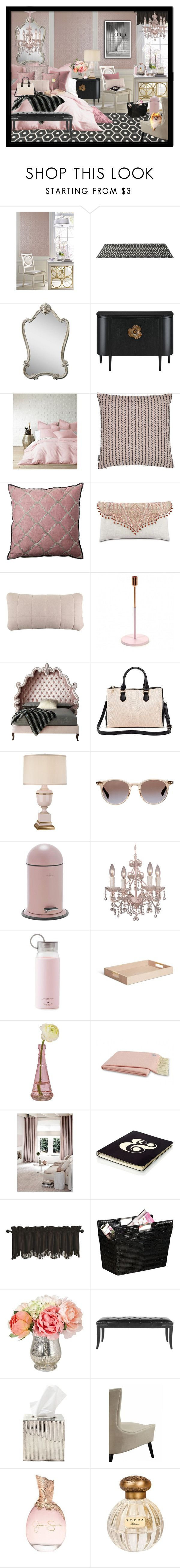 """Blush & Black"" by julissag ❤ liked on Polyvore featuring interior, interiors, interior design, home, home decor, interior decorating, York Wallcoverings, Pappelina, Uttermost and Levtex"