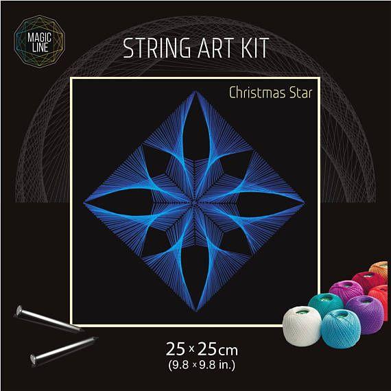 String art kit, string art kit Christmas star, mandala patterns, nail and string art kits, DIY, mandala kits, zen gift, string art pattern