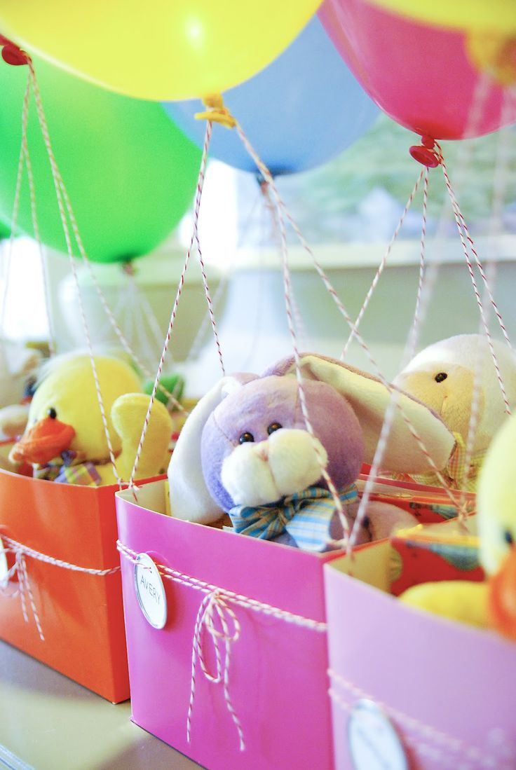 Balloon Birthday with hot air balloon party favors