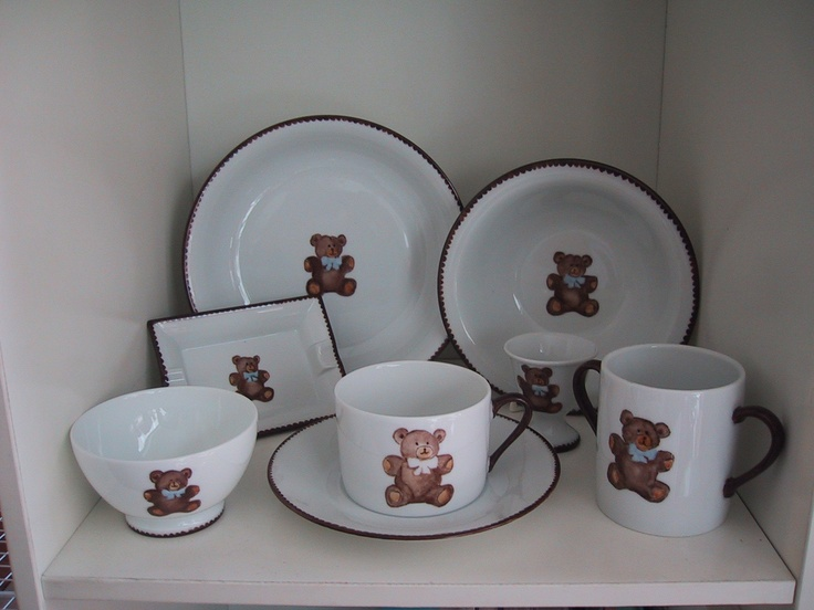 mug, bowl, cups and plates... teddy bear hand painted on Limoges porcelain , designer Patricia Deroubaix, hand painted in Limoges porcelain. cereal bowl/ all shapes on special orders