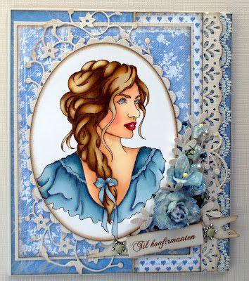 Annes lille hobbykrok: Sweet Pea Girl card, konfirmant, Promarkers