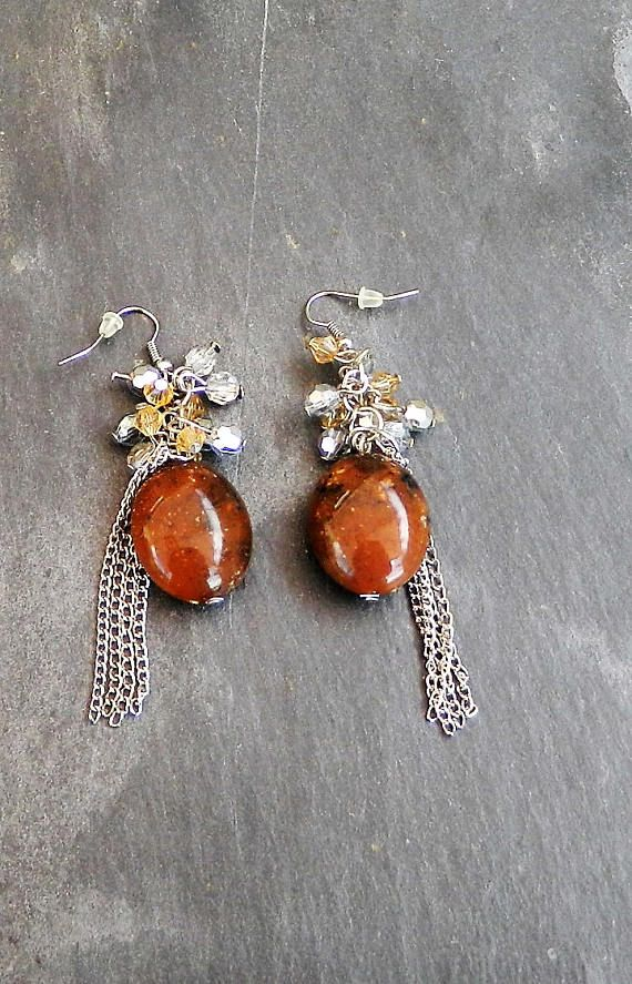 Brown Drop Earrings with chains gift for her pair of
