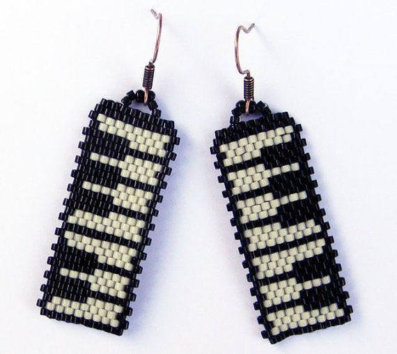 Music seed bead  earrings peyote earrings piano for claire