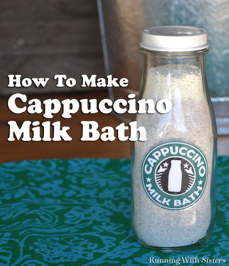 "Homemade Cappuccino Milk Bath - Learn how to make a DIY spa craft from instant coffee and powdered milk! This step by step how to includes the milk bath recipe, instructions with photos, a complete video showing how it's done, and a free printable ""Cappuccino Milk Bath"" label. The milk bottle container makes it such a cute gift, especially for a coffee lover!"