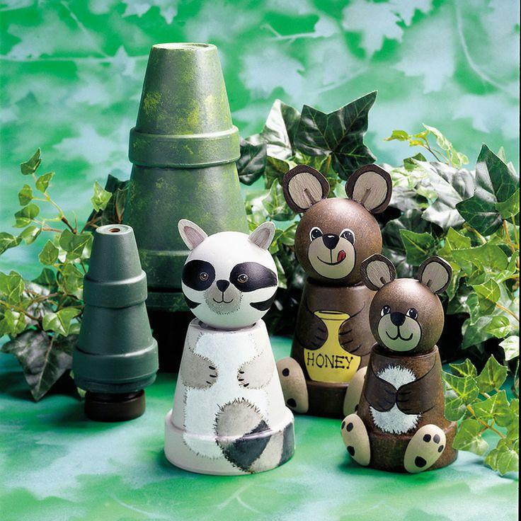 Perky pots peaceful woodland scene claypot craft moore for Gartendeko terracotta