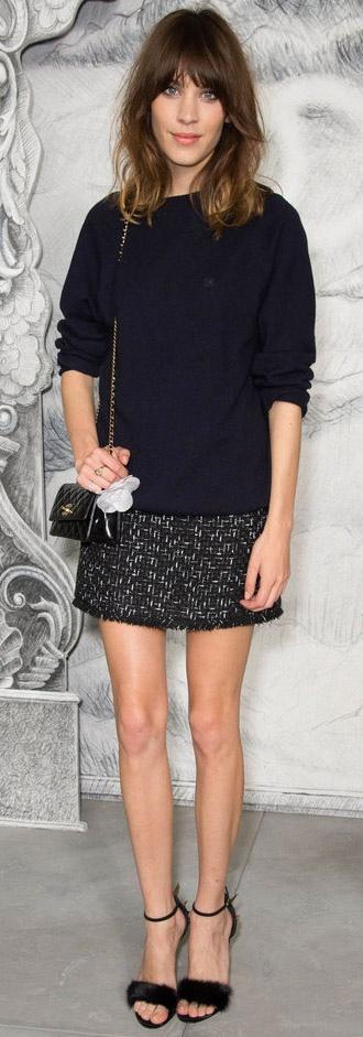 Alexa Chung- sophisticated and smart with messy hair and fluffy pumps