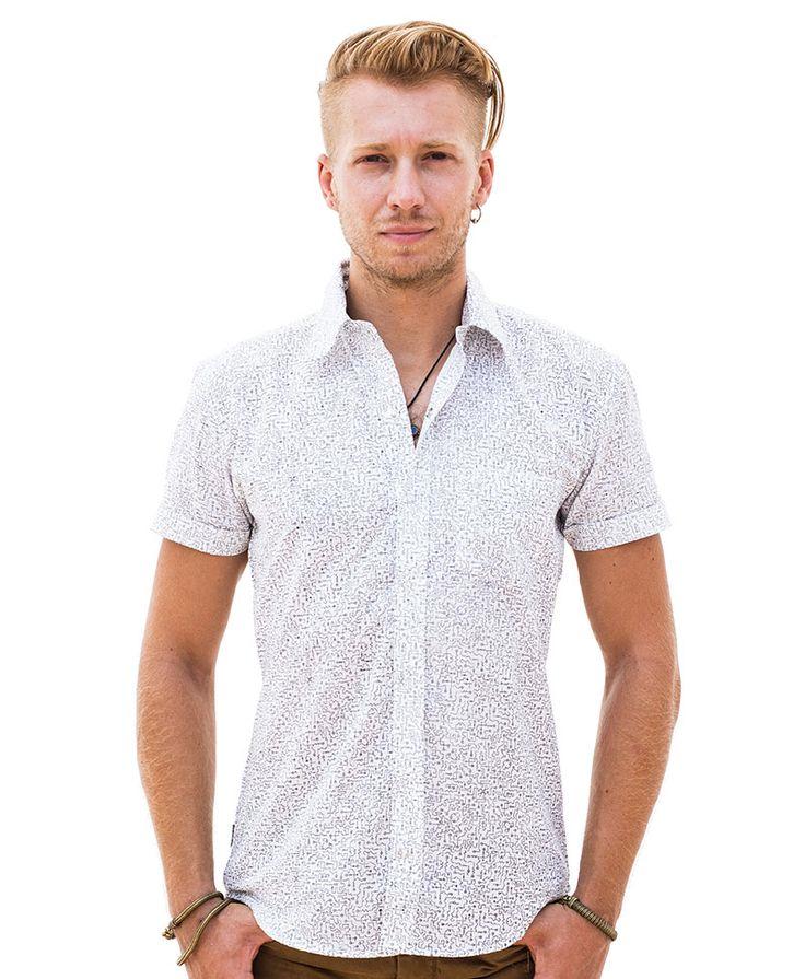 Mens Fashion Shirt White Button Down Shirt Short Sleeve Shirt Button Up Shirt Arabesque Printed Shirt Slim Fit Shirt FIh3EPpipZ