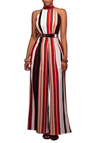 f61a72fd13b HELIDA Women s Sleeveless Belted Halter Wide Leg Sexy Colorful Slim Casual Jumpsuits  Romper