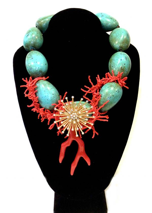 Trompe l'Oeil Turquoise, Beaded Coral, Resin Coral, Mid-Century Starburs