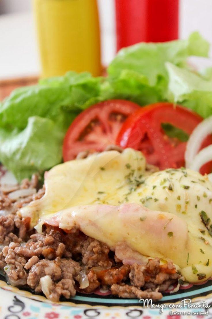 Carne Moída à Parmegiana com Presunto e Queijo - Manga com Pimenta