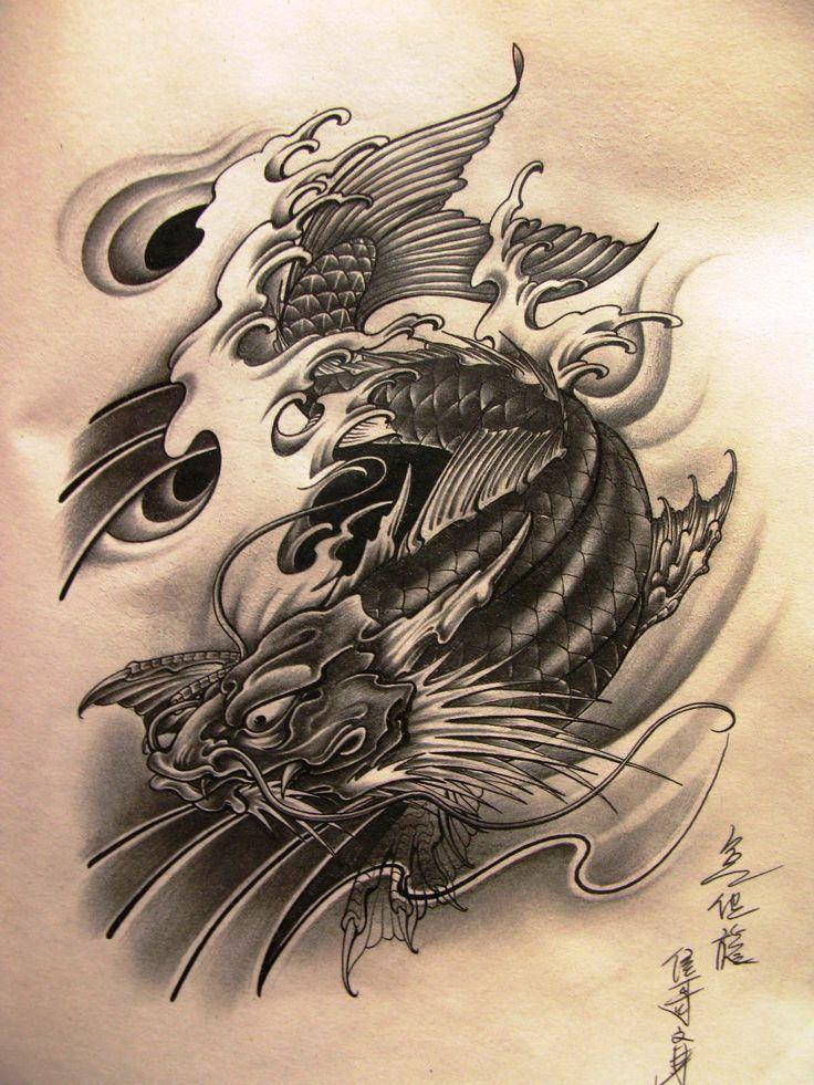 43 best dragon koi images on pinterest dragon tattoos for Japanese koi dragon