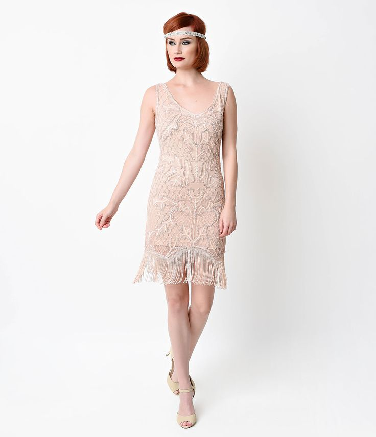 1920s Style Blush Pink Beaded Deco Wedding Party Dress $72.00 AT vintagedancer.com