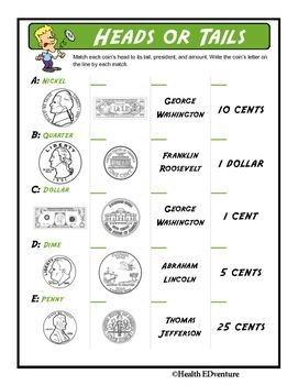 This fun activity teaches students about money. Students learn to identify the different types of coins and bills by appearance - the front and back as well as the United States president that is featured.Find over 330 learning activities at the Health EDventure store.