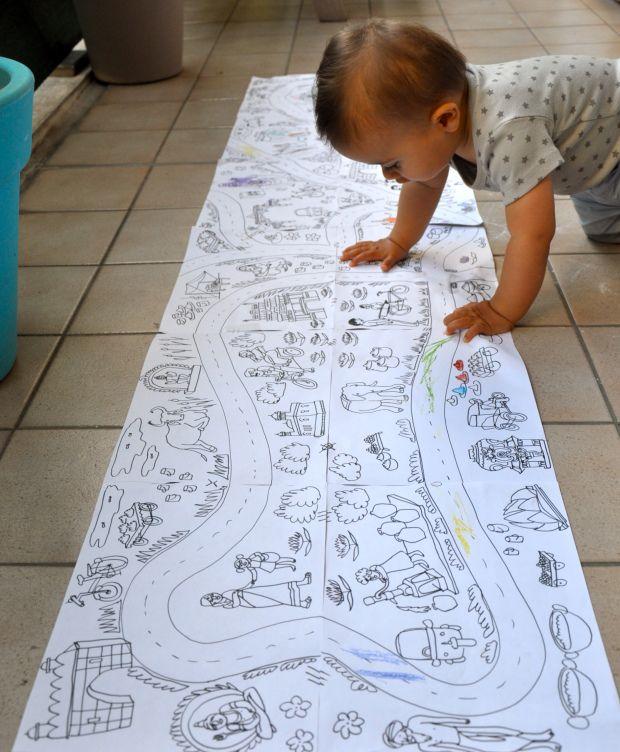 maxi coloriage géant à assembler thème rues d'inde