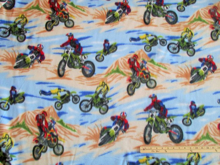 Dirt Bike Motocross Motorcycle Fleece Fabric By The Yard