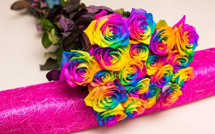 Lataa kuva monivärinen ruusut, kauniita kukkia, kimppu ruusuja, värikäs silmuja ruusuja