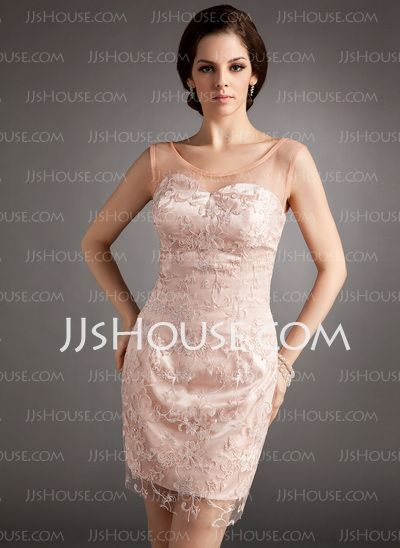Cocktail Dresses - $162.99 - Sheath Scoop Neck Short/Mini Tulle Charmeuse Cocktail Dress With Lace Beading (016008324) http://jjshouse.com/Sheath-Scoop-Neck-Short-Mini-Tulle-Charmeuse-Cocktail-Dress-With-Lace-Beading-016008324-g8324