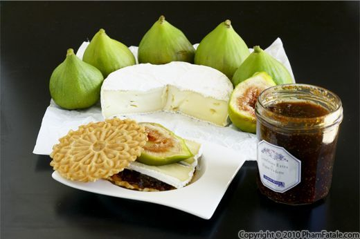 fig and camembert cheese sandwiches with pizelle anise cookies