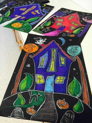 Color It Like you MEAN it!: 4th grade Spooky Halloween Houses