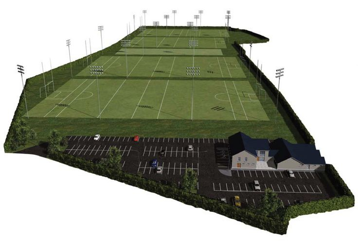Hawkfield GAA Training grounds & pitch illustration home of Kildare, prepared at Planning Stage.