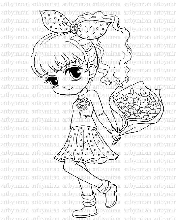 Digi Stamp Pretty Girl Coloring page Big eyed girl by artbymiran, $2.00