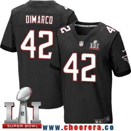 Men's Atlanta Falcons #42 Patrick DiMarco Black Alternate 2017 Super Bowl LI Patch Stitched NFL Nike Elite Jersey
