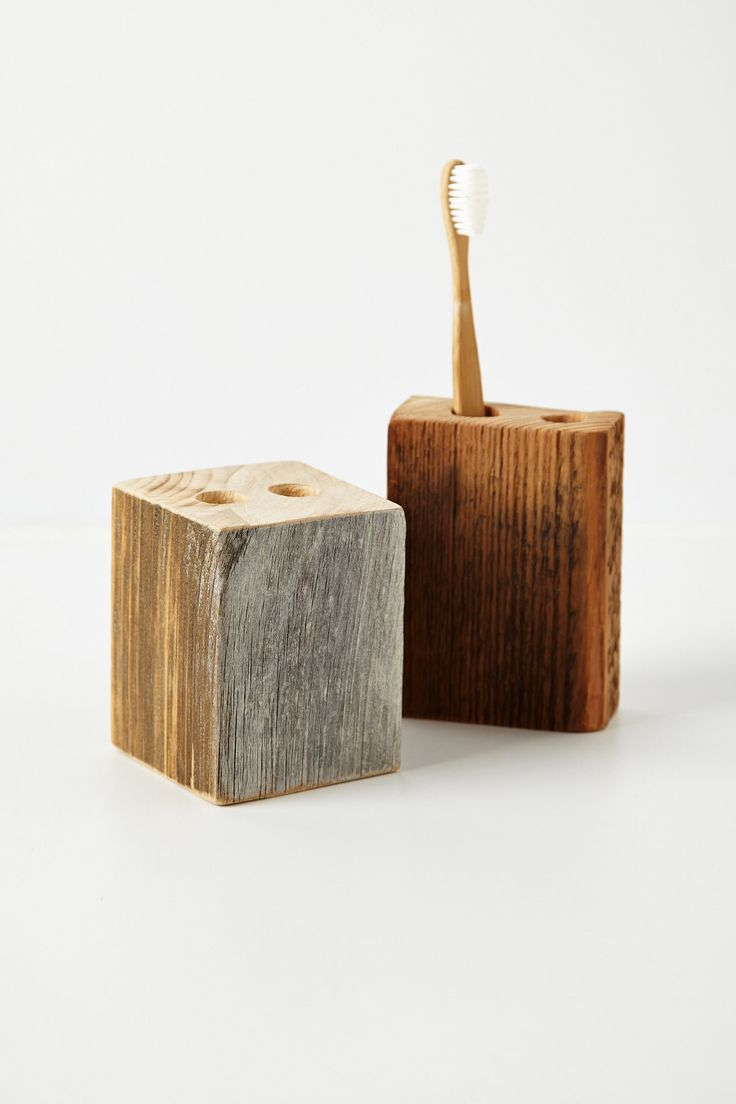 wooden toothbrush holder