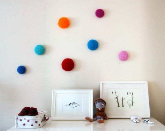 FREE SHIPPING - Crochet 3d dots  wall decals - bubbles on the wall