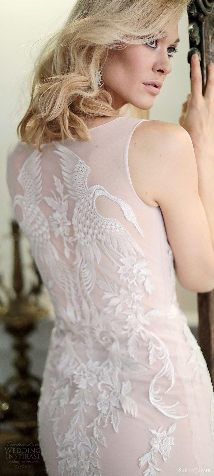 sarah jassir bridal 2018 sleeveless illusion straps sweetheart heavily embellished lace sheath wedding dress (swan) zbv blush sweep train modern elegant -- Sarah Jassir 2018 Wedding Dresses