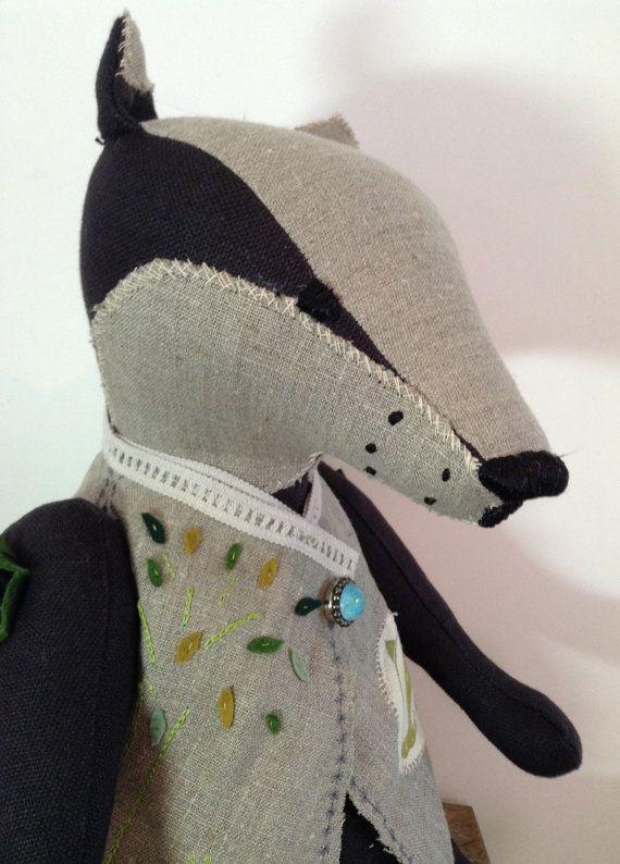 Bellamy Badger, badger doll, badger soft sculpture