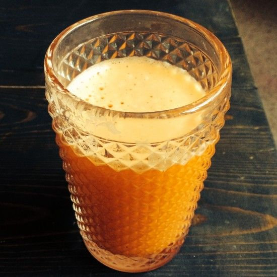 Sweet potato, carrot, ginger and apple juice. Juice for bloated tummies.