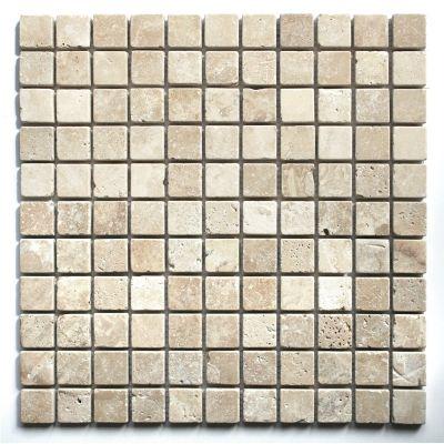 White Travertine Tumbled Mosaic Tile